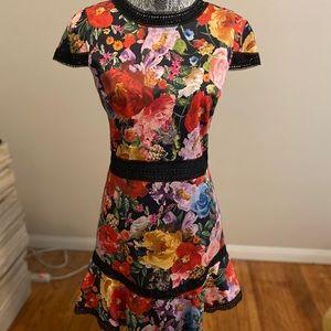 Floral cap sleeve dress w/ semi-sheer black detail
